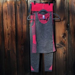 Pink and Gray compression yoga high-waist leggings